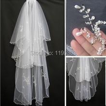Vendita calda sparkle 2 strati perline perle bianco/avorio velo da sposa con pettine per cappelli da sposa accessori(China (Mainland))