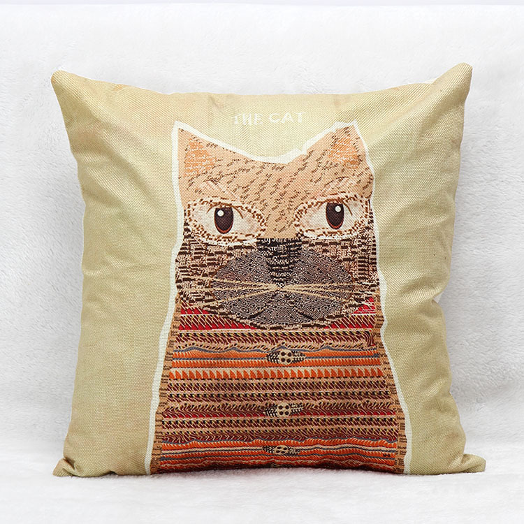 Red Panda Cushion Cover Cotton Linen Blend Square Pillow Case Origami Animal Cushion Covers Home Decor