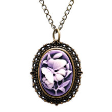 Ladies Gift Antique Pendant Rose&Beauty Simple Quartz Pocket Watch Women's Vintage Fob Clock Casual Necklace Chain(China (Mainland))