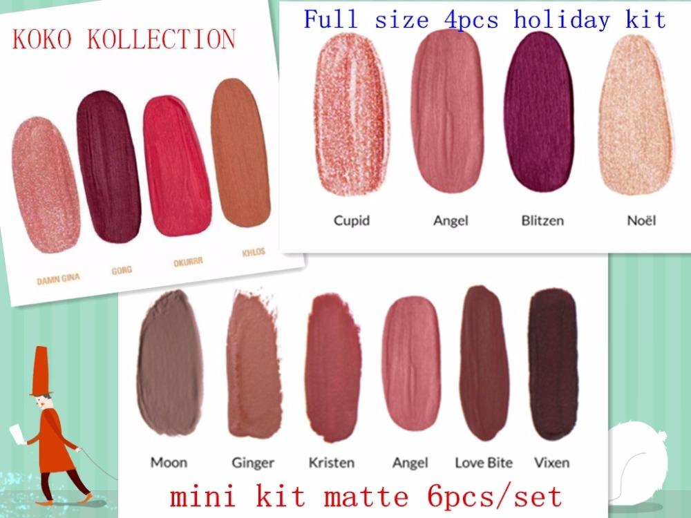 In stock 1set Koko Kollection Set Cosmetics matte lipstick & gloss collection mini kit matte liquid lipsticks 6pcs/set