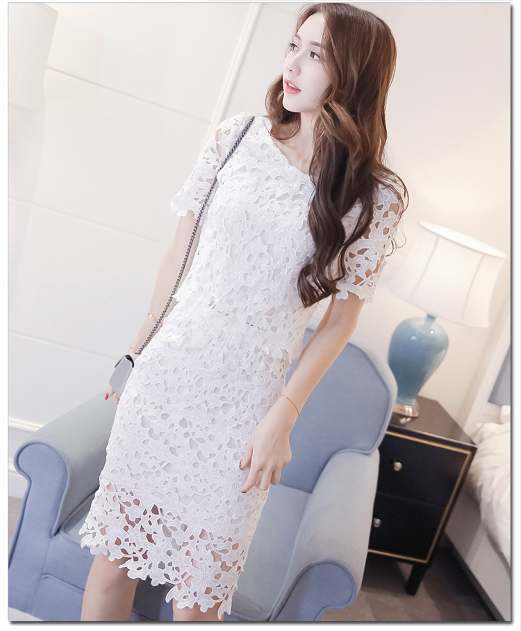Women Lace Set  O Neck Crop Tops And Skirt Hollow Out Female Suit White Blue Pink 2 Pieces (11)