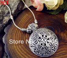 2014 New Arrival Free Shipping Tibet Jewelry 925 Sliver Plated Vintage  Flower Pendant Retro Drop Necklace for Women Hot ZS-023(China (Mainland))