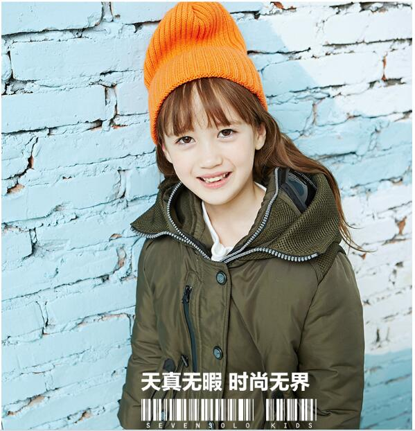 Step sevens new solo children down in the long winter pure Girls Hooded Jacket thickening<br><br>Aliexpress