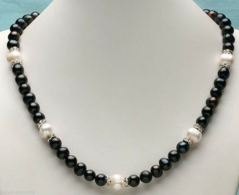 14k 9-10mm+10-11mm AAA SOUTH SEA White black Pearl Necklace 17inch AAA+006(China (Mainland))