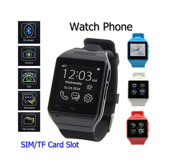 "1.54"" Capacitive Touch Screen WristWatch Cell Phone Bluetooth Smart Watch With Earphone TF GSM FM Sync Android IOS As a Gift(China (Mainland))"