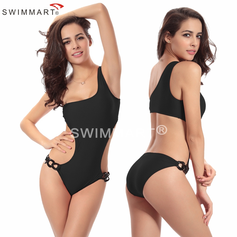 Victoria Designer 2015 Vintage Acrylic Chain Fashion One Shoulder Christmas Bathing suit One Piece Swimming costumes(China (Mainland))