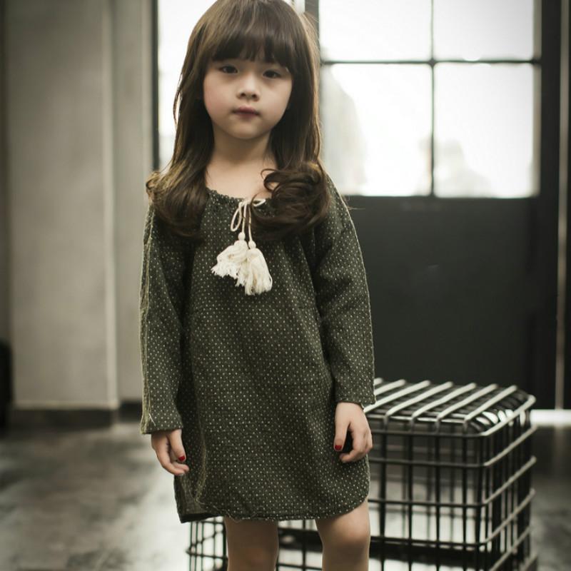 Korean Childrens Clothing 2016 Spring New Girls Dot Pattern Side Open Fork Dress Child Doll Dresses<br><br>Aliexpress