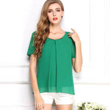 Fashionable New Trend Large Size Pure Color Chiffon Tops Fresh Summer Cozy Style Good Quality Loose Casual Blouse 10 Color S-3XL