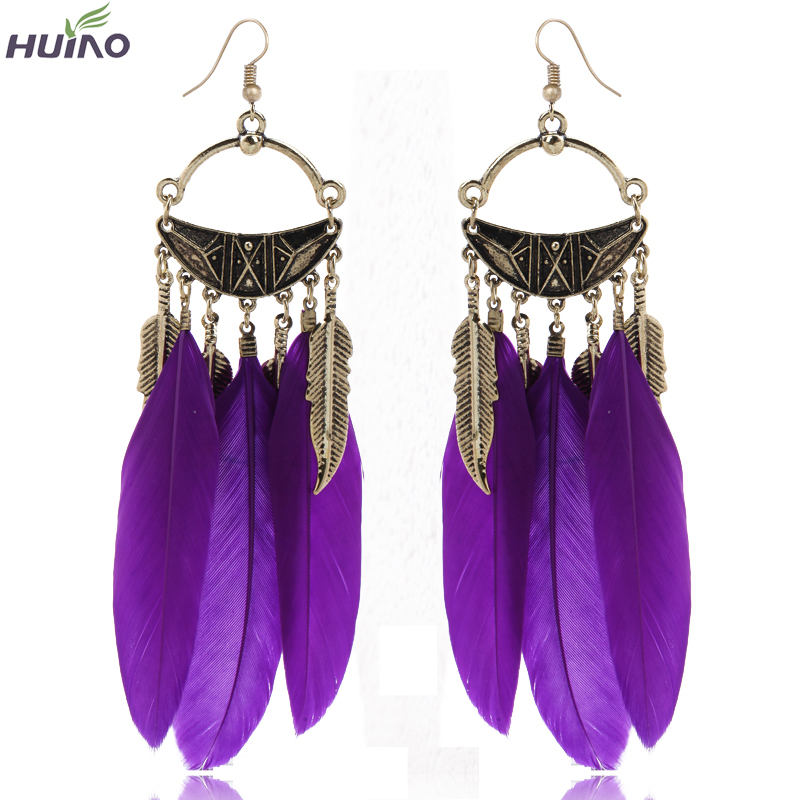 Bronze Plated Alloy Leaf and Purple Orange Light Blue Feather Pendant Dangle Earrings Fashion New Arrival(China (Mainland))