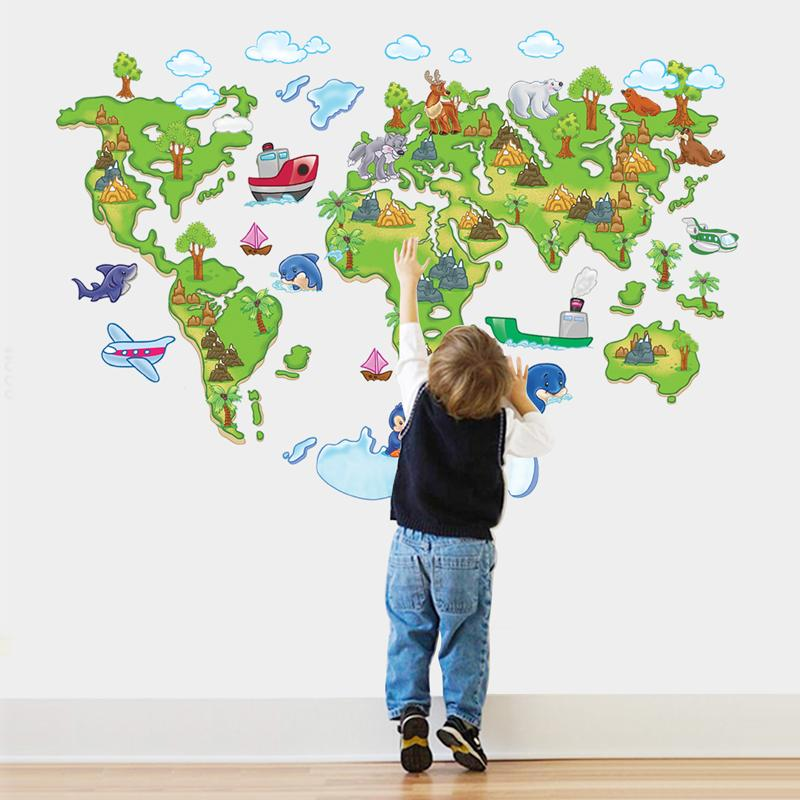 Cartoon DIY Map Vinyl Wall Stickers For Kids Rooms Home Decor Art