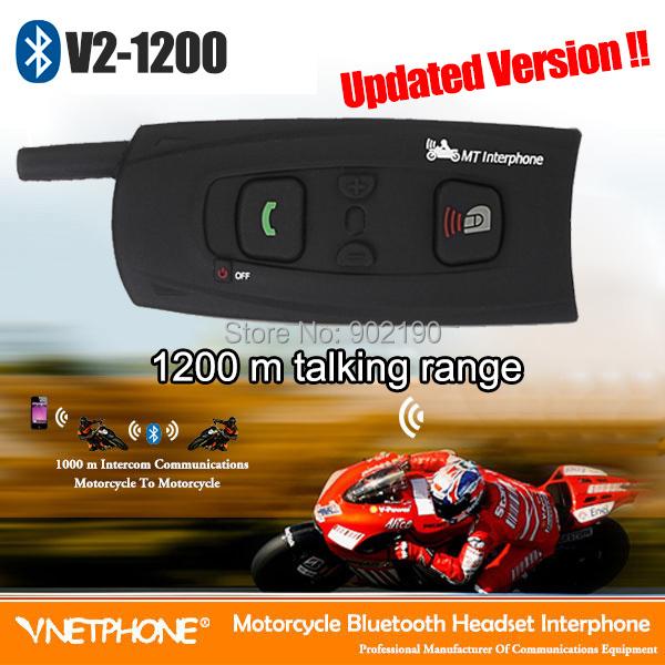 Updated Version! 2 x BT Bluetooth Motorcycle helmet Intercom speaker 1200m talking range Interphone Headset handsfree headphone(China (Mainland))