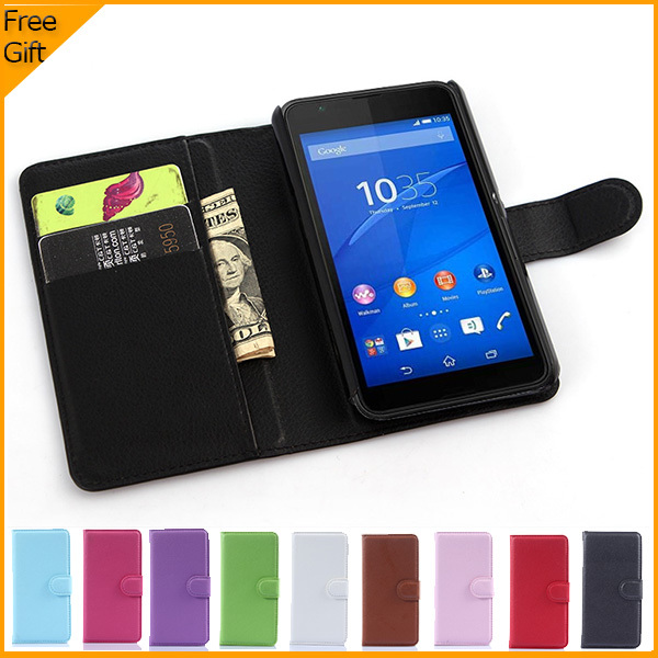 Luxury Wallet PU Leather Case Cover For Sony Xperia E4g Dual E2033 E2003 Cell Phone Shell Flip Back Cover With Card Holder Stand(China (Mainland))