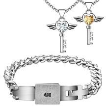 Wholesale price Hot A Couple stainless steel Heart Lock Jewelry set Heart  Lock Bracelet bangle Key pendant Necklace For Lovers(China (Mainland))