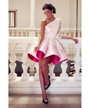 Fashion One-Shoulder Appliques Cocktail Dresses Elegant Pink Stain Above Knee Length High Quality Party Gowns(China (Mainland))