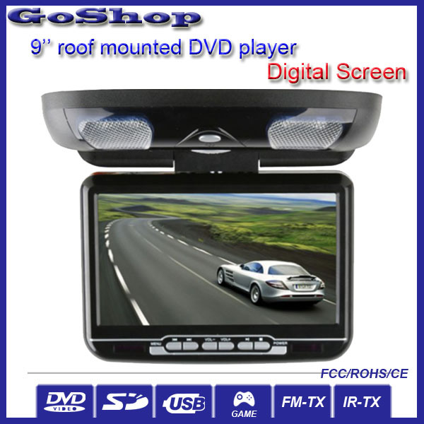 Automobile Black Color 9'' Car MPV Roof Mount Flip Down DVD Player With Digital Screen USB Game joystick(China (Mainland))