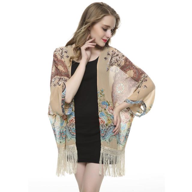 Женщины цветочный кисточкой шифон Кимоно и пиджаки свободные старинные мыс пальто ...