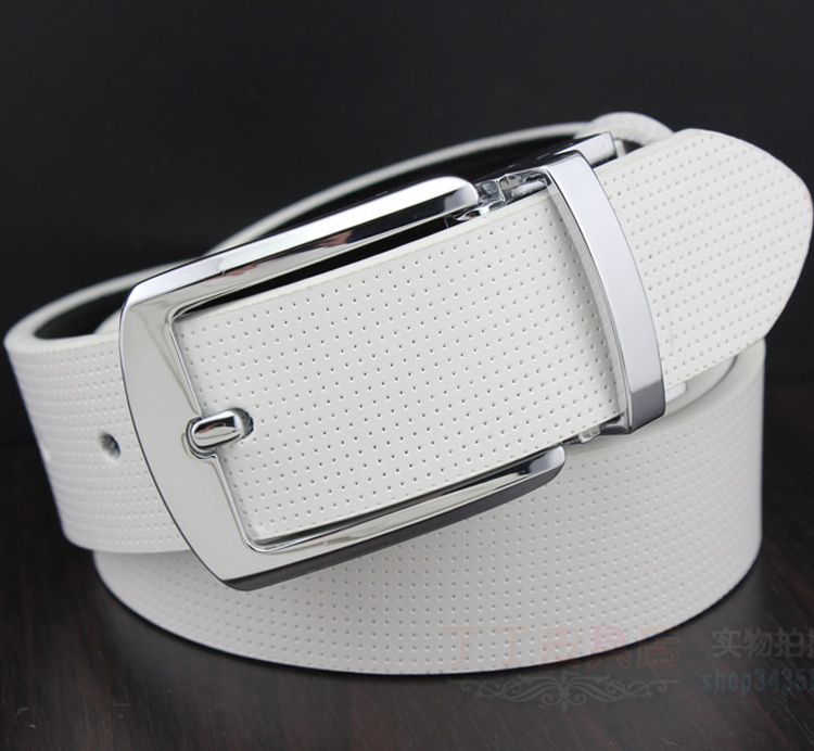 Hot authentic Korean men's white belt men's leather belt buckle leather men on both sides of the dual-use(China (Mainland))