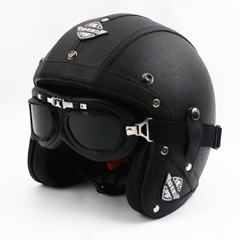 Новое прибытие Винтаж кожаный мотоциклетный шлем скутер открытым лицом шлем мотоцикл Capacete DOT утвержден с очками