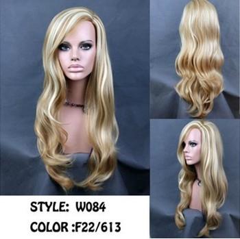 Free shipping Fashion Fabulous Long Layers Wavy Wig Blonde mix Ladies Wigs Skin Top