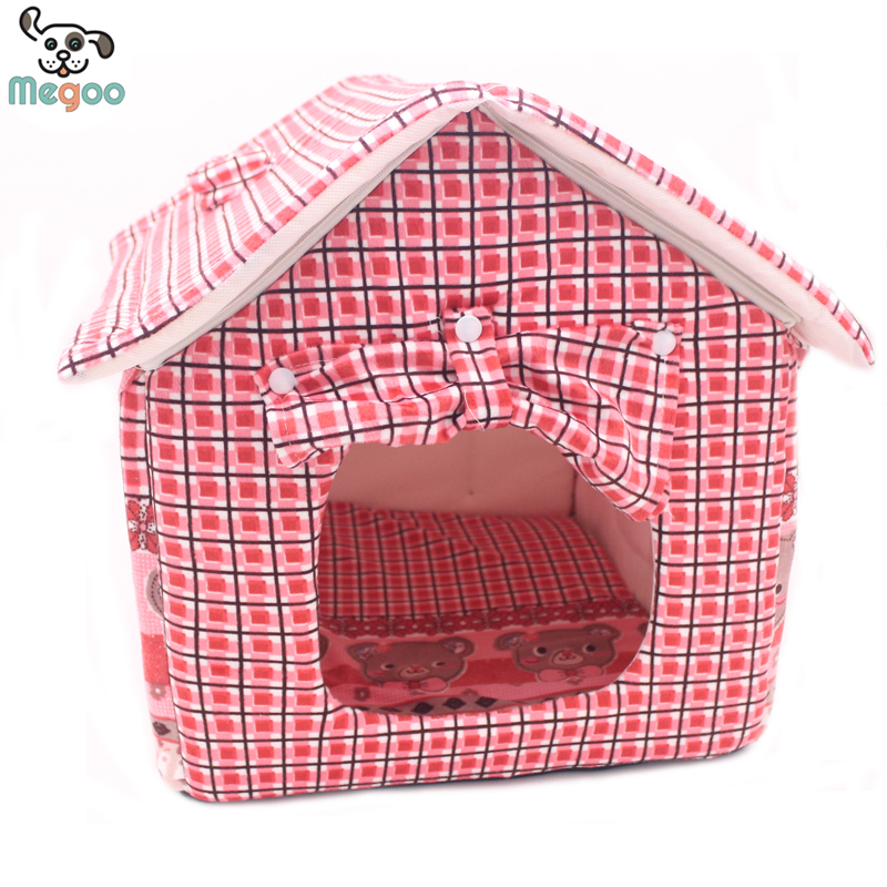 Cute Small Dog Cat House Outdoor Foam Padded Princess Pet Dog Bed Puppy Kennel Cama Perro(China (Mainland))