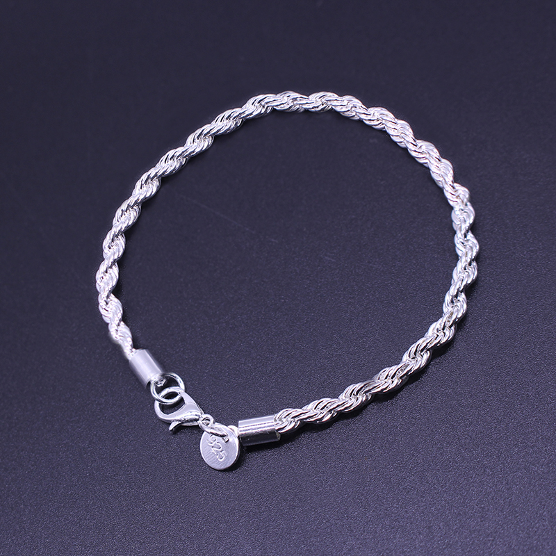 European And American Popular Sell Well Silver Plated Jewelry Glisten Twisted Rope Male And Female Couple Bracelet Free Shipping(China (Mainland))