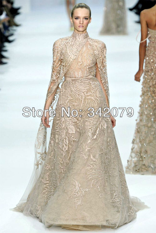 ph08381 haute couture high neckline fully appliques floor length dress with a sash dresses dress Elie Saab(China (Mainland))