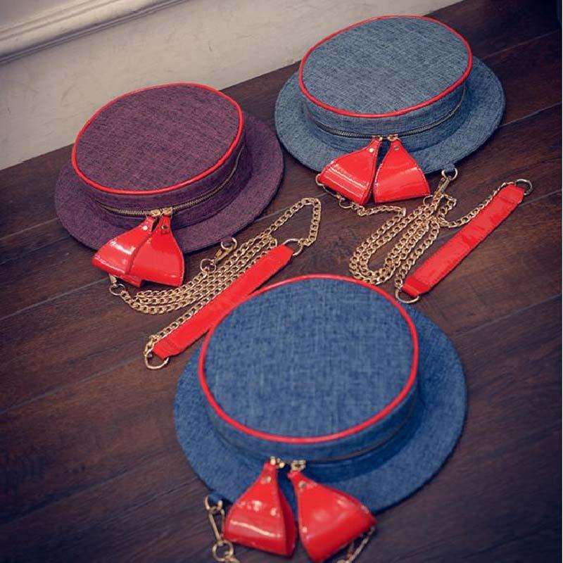 New Designer Cute Jean Handbags Chain Hat Bag Fashion With Red Bow Clutch Ladies Small Casual Denim Purses sac a main tas ZD63(China (Mainland))