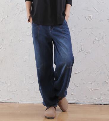 Скидки на Шаровары брюки для женщин плюс размер хлопок свободные высокой талией джинсы случайный осень весна зима новый мода женские брюки awi0603