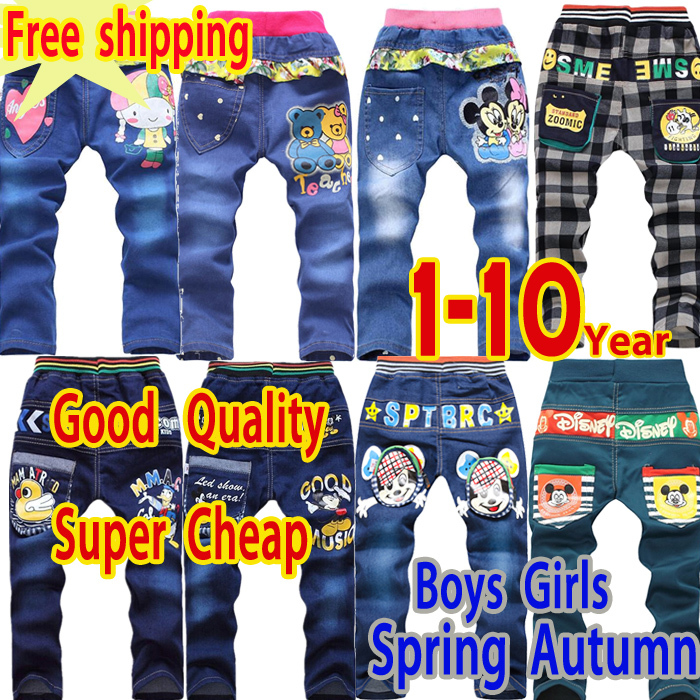 free shipping new 2015 children pants sunner boys pants spring kids jeans clothes girls trousers 3-4-5-6-9 years children jeans(China (Mainland))