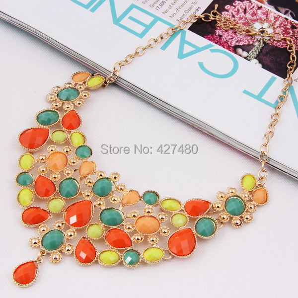 2016 New Arrival Fashion Charming Shine Candy Color Beads Alloy Necklaces for Women Bridal Wedding African Necklace Jewelry(China (Mainland))