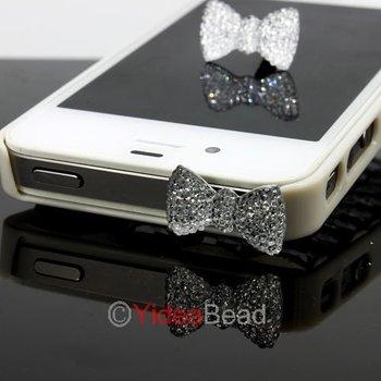 Free Shipping 4pcs Crystal Bow Ribbon Bowknot Anti Dust Ear Cap Plug For Phone 261355