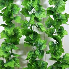 12Pcs Artificial Grape Vine Simulation Green Plants Silk Cloth Leaf For Decoration 2.2m Length Plant Vines Leaves(China (Mainland))