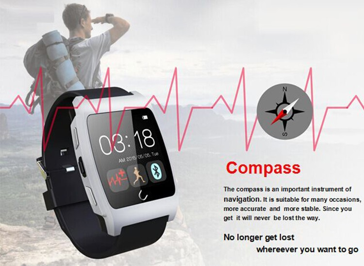 Heart Rate Monitor Watch Bluetooth Smart Watch Wristwatch for iPhone Samsung Smart Phone Wearable Devices Sport Watch Uwatch UX