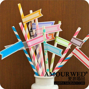 Free shipping 110 pcs/lot creative wedding banquet green straw color optional color decoration paper straw small label stickers(China (Mainland))