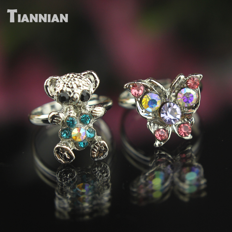 Wholesale Lot 5 Pcs Assorted crystal ring plated Cute Kid party child Small adjustable rings Free shipping(China (Mainland))