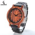 BOBO BIRD M05 Wooden Watches Men Red Sandal Wood Dial Ebony Strap Vintage Style Watch Erkek