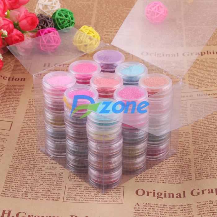 Fashion Special Hot Sale 45 Color Make Up Decor Glitter Nail Beauty Nail Art Sparkle Dust Powder Nail Art Body Pigment Set#11487(China (Mainland))