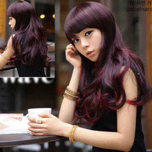 Harajuku Anime Cosplay Wine Wigs Young Long Wavy Synthetic Hair Wig  Heat Resistant Drag Queen Wig Halloween Hairpiece Cabello<br><br>Aliexpress