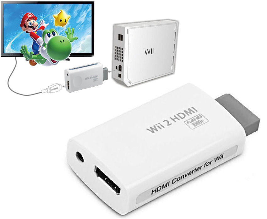1080P 720P Upscaling Adapter For Wii 2 To HDMI Converter Output HDTV 3.5mm Audio Convertor Free Shipping #S0154(China (Mainland))