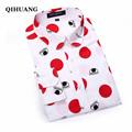 QIHUANG Fashion Women Blouse Shirt 2017 Casual Long Sleeve Cotton Print Eyes Women Shirt Tops Plus