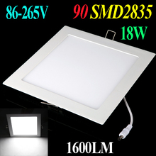wholesale Pure White 18W 1600LM led bulb AC 86-265V Ultra Thin Square Ceiling Panel Light Wall Recessed led downlight Down Lamp(China (Mainland))