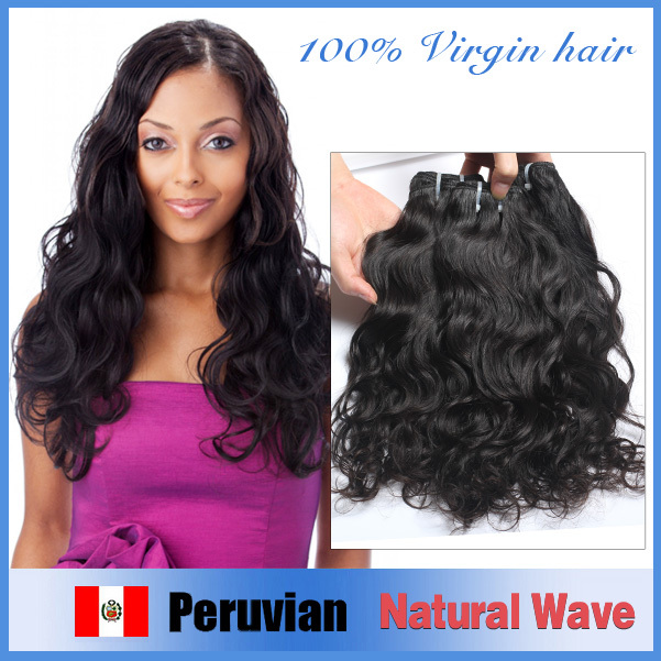 Elfin Peruvian Virgin Hair 3Pcs Lot Free Shipping Grade 6A Peruvain Virgin Hair Human Weave Unprocessed Peruvian Natural Wave(China (Mainland))