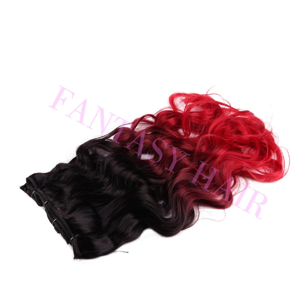 8pcslot 20 inch Brazilian black red ombre body wave weave full head clip in blended synthetic extensions no shedding no tangle-3