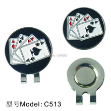 Free Shipping 4 Aces Golf Ball Marker with Golf Hat Clip, Golf Visor Hat Clip, Wholesale Price(China (Mainland))