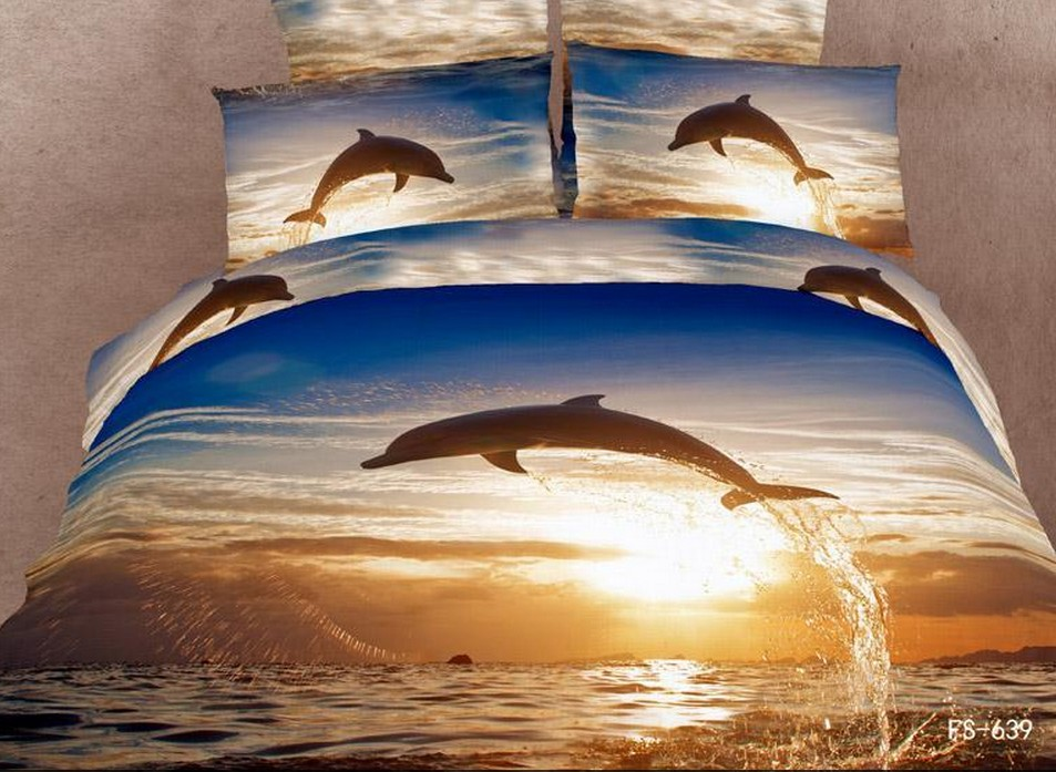Dolphin Style Luxury 3D Oil Painting Print Full/Queen/King Bedding Set/Comforter Cover/Quilt Cover/Duvet Cover,HKY05 - A-ONE Home Textile store