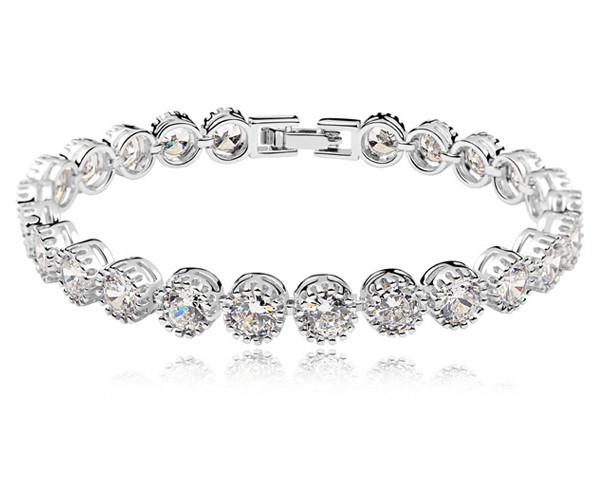 AAA Cubic Zirconia Luxury Bracelet Real White Gold Plated Copper Women Lady Party Jewellery Wedding Jewelry Female Accessories - MJSZ store Min. Order $ 10 USD