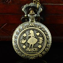 Retro Bronze Alice in wonderland Pocket Watch Necklace Fob Women Pendant Antique Gift(China (Mainland))