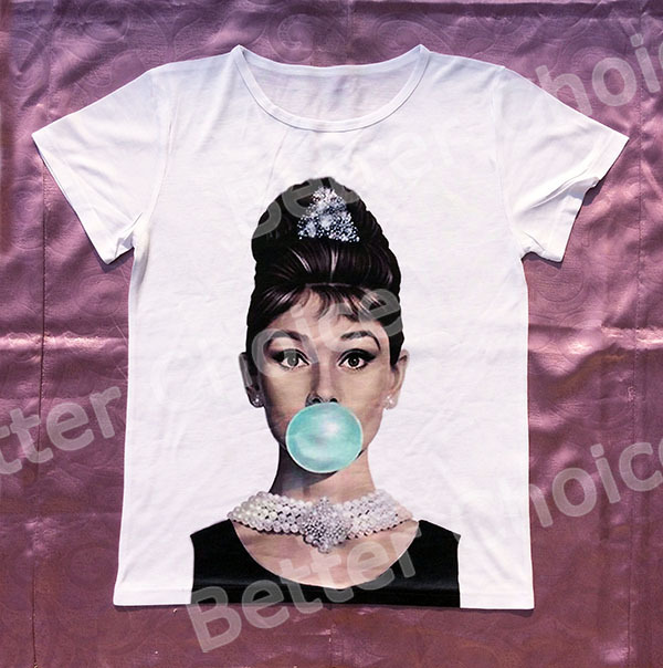 Track Ship+New Vintage Retro T-shirt Top Tee Diamond Elegant Lady Hepburn with Blue Bubble in Mouth 0473(Hong Kong)