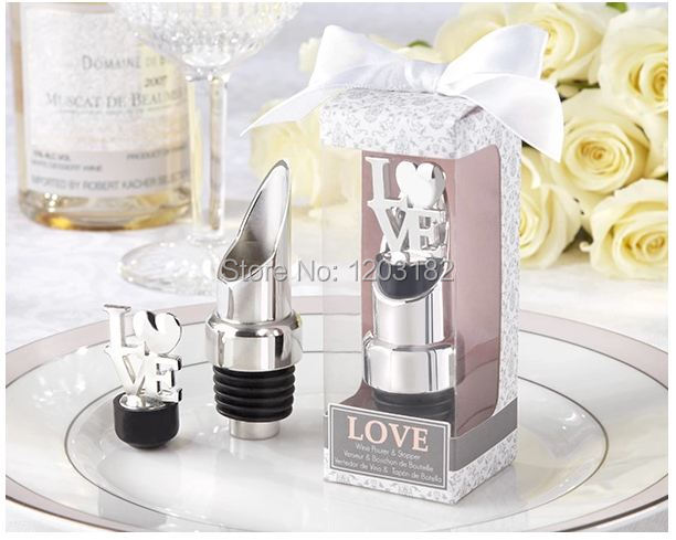Free shipping 100sets/lot zinc alloy wine pourer stopper sets wedding favours, party giveaway gifts(China (Mainland))