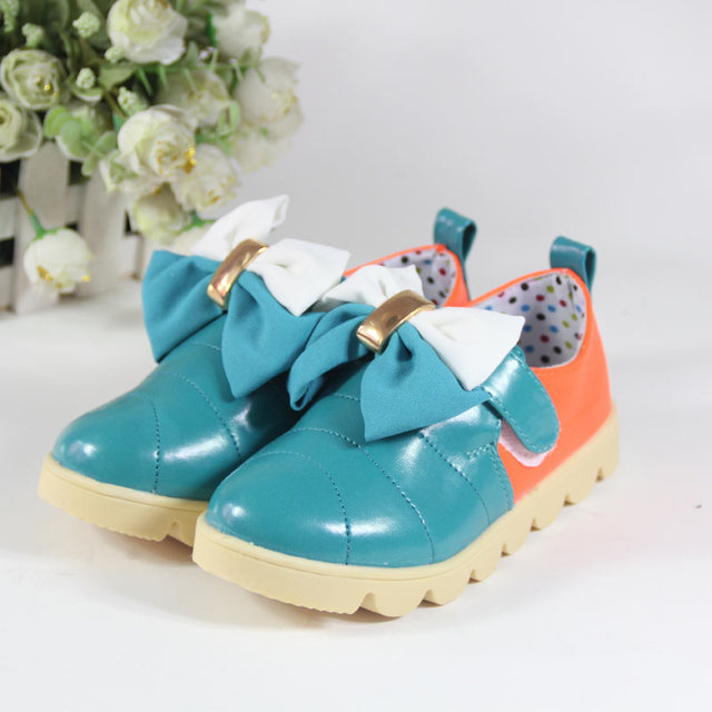 Female big boy leather princess single shoes spring and autumn female child leather bow children shoes 32 - 37